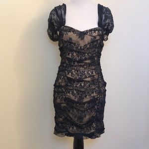 One Clothing Ruched Lace Sweetheart Neckline Dress
